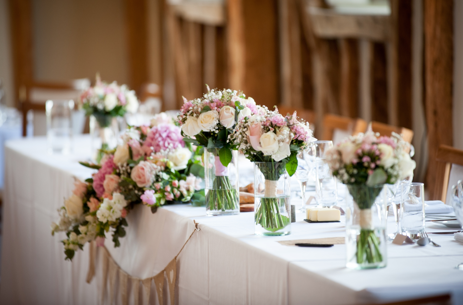 Becki and Matt August 2018 - Top table and Bridesmaids Bouquets